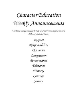 Character Education Announcements