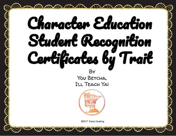 Character Education Award Certificates