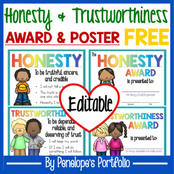 character education poster and award free tpt