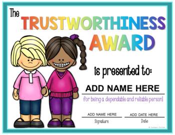 Character Education Poster and Award FREE
