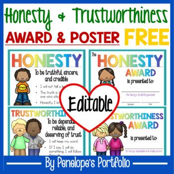 Character Education Award and Poster FREE