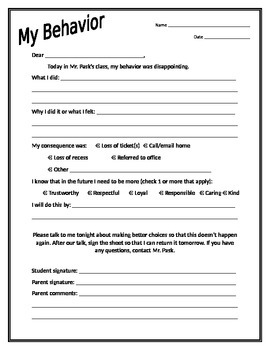Character Education Behavior Correction Sheet