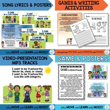 Character Education Bundle of Songs, Games, Posters and Writing Activities
