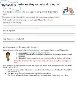 Character Education: Bullying Bystander Worksheet, Bystanders, Bullying