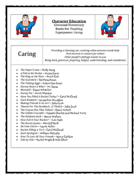 Character Education: Caring books, activities, video clips, worksheets