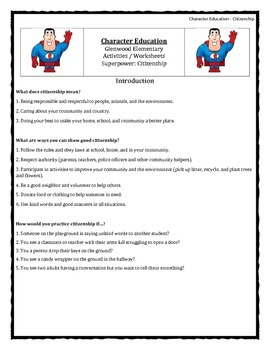 Character Education: Citizenship books, activities, video clips, worksheets