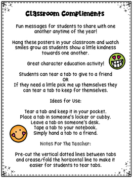 Character Education - Classroom Compliments Activity (Version One)