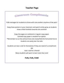Character Education - Classroom Compliments Activity (Version Two)