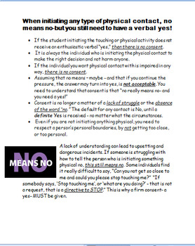 """""""No Means No"""" -Get Consent- Ask First - High School - 2 activities"""