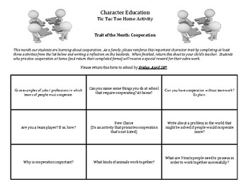 Character Education: Cooperation Tic Tac Toe home activity for parents/students