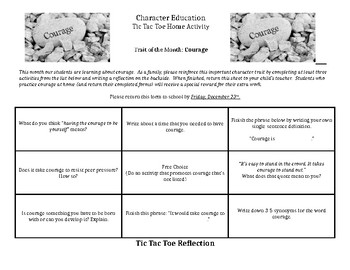 Character Education: Courage Tic Tac Toe home activity for parents/students
