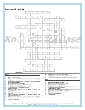 Character Education Crossword Puzzles Volume 1 Full