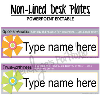 Desk Plates / Name Plates - Character Education, Editable