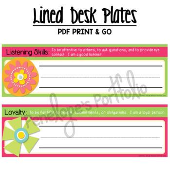 Desk Plates / Name Plates - Character Education, Editable