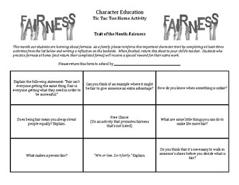 Character Education: Fairness Tic Tac Toe home activity for parents/students