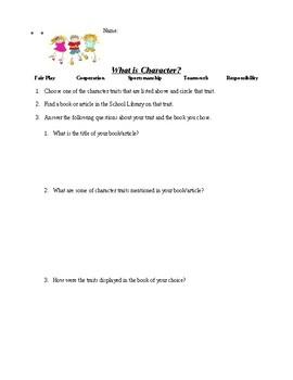 Character Education Homework