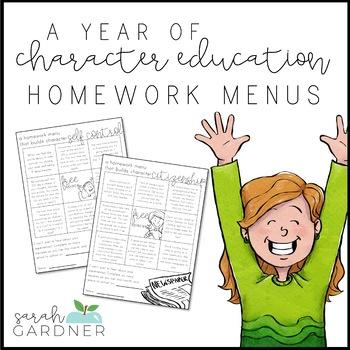 Editable Monthly Character Education Homework Menus