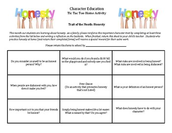 Character Education: Honesty Tic Tac Toe home activity for parents/students