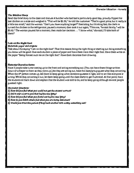 Character Education: Honesty books, activities, video clips, worksheets