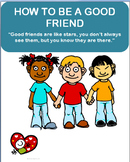 """Being a Good Friend"" lesson plan and 3 Activities, coloring page"