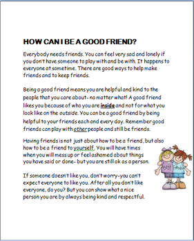 """""""Being a Good Friend"""" lesson plan and 3 Activities, coloring page"""