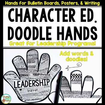 Character Education Leadership Doodle Hands Set EDITABLE