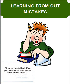 """""""Learning from Our Mistakes"""" lesson, classroom activity"""