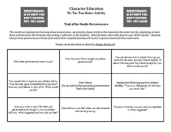 Character Education: Perseverance Tic Tac Toe home activity for parents/students