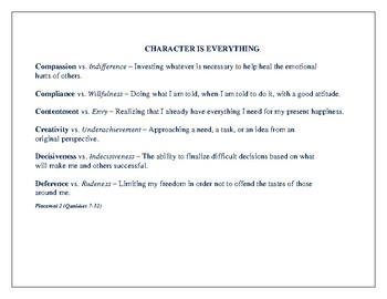 Character Education Placemats