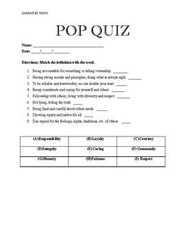 Character Education Pop Quiz