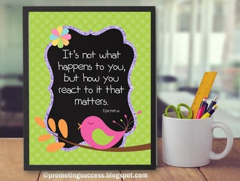 How You React Growth Mindset Poster, Inspirational Quote Bird Theme 8x10 16x20