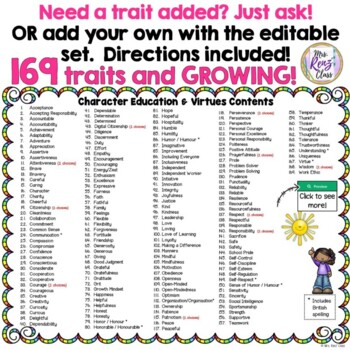 Character Traits Posters & Virtues Posters (145 & Growing!)  Character Ed Set