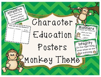 Character Education Posters Monkey Theme