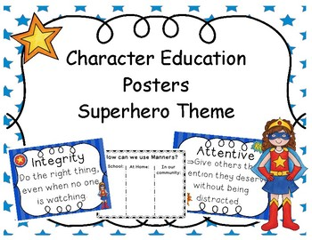 Character Education Posters Superhero Theme