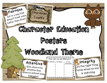 Character Education Posters Woodland Theme