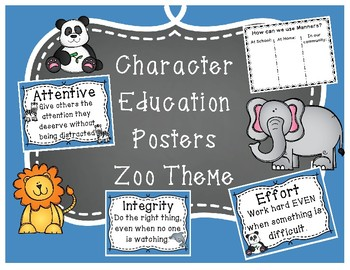 Character Education Posters Zoo Animal Theme