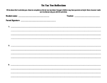 Character Education: Respect Tic Tac Toe home activity for parents/students