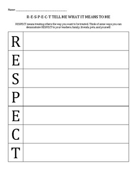 Character Education: Respect acrostic poem activity