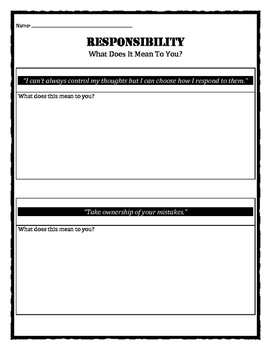 Character Education: Responsibility quotes and meanings