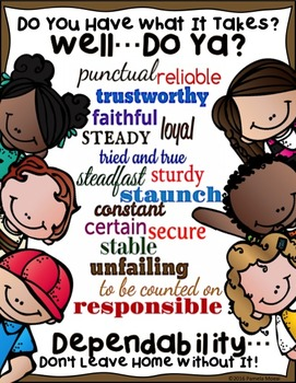 """SEL Character Education:  Rise to Success """"Dependability"""""""
