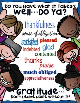 """SEL Character Education:  Rise to Success """"Gratitude"""""""