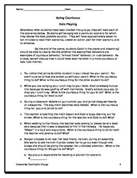 Leadership Skills: Role Playing Scenarios (Be Responsible, Be Courteous, etc)
