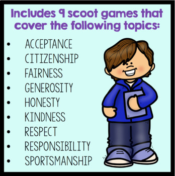 Character Education Scoot Game Bundle (Save 20%)