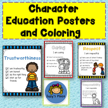 Character Education Posters And Coloring By Suzy S Place Tpt