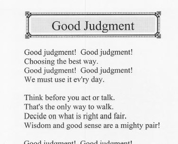 Character Education Song Kit GOOD JUDGMENT