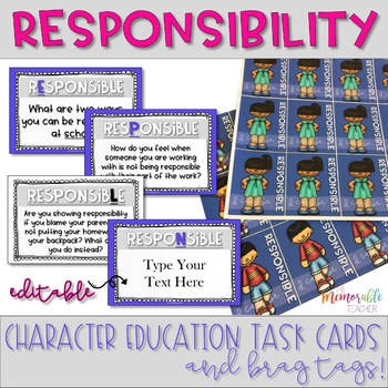 Character Education Task Cards and Brag Tags: Responsibility