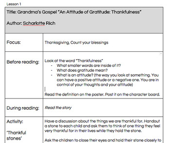 Character Education: Thankfulness