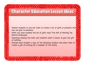 Character Education: The Gift of Nothing Craft and Activity
