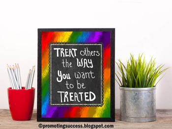 Golden Rule Quote Poster for Rainbow Theme Classroom Decor ~ School Counselor