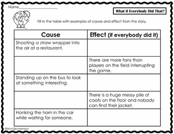 Cause and Effect What if Everybody Did That Literature Activities